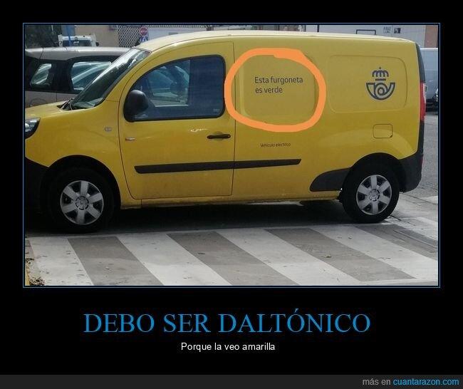 amarilla,correos,furgoneta,verde