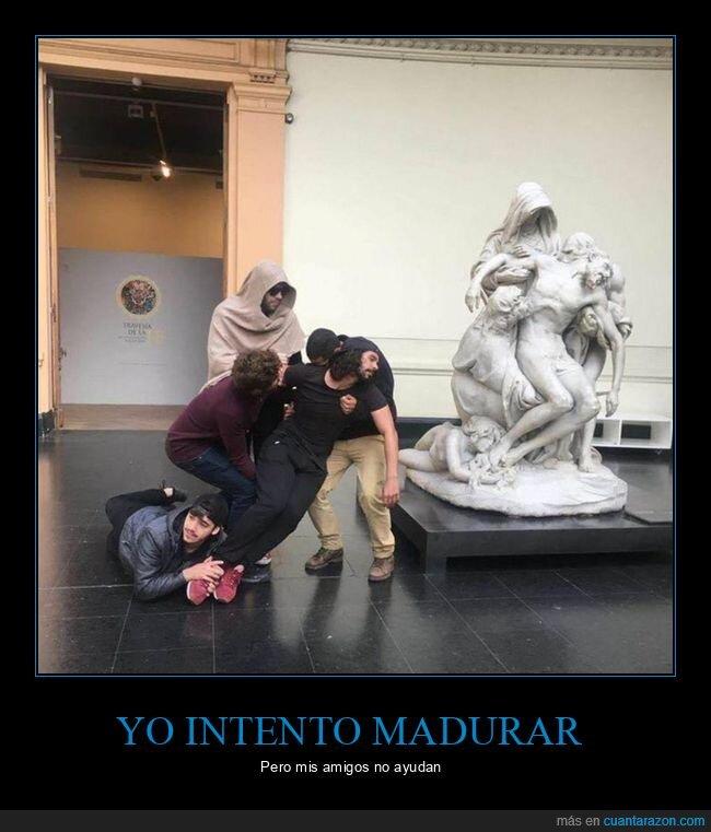 amigos,escultura,imitando,madurar