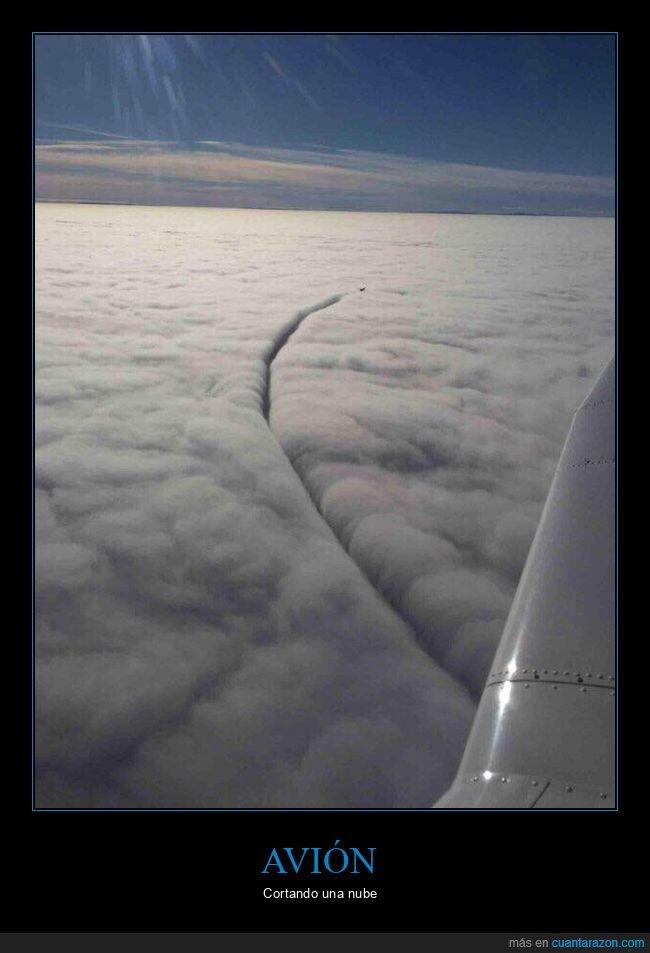 avión,cortando,nube