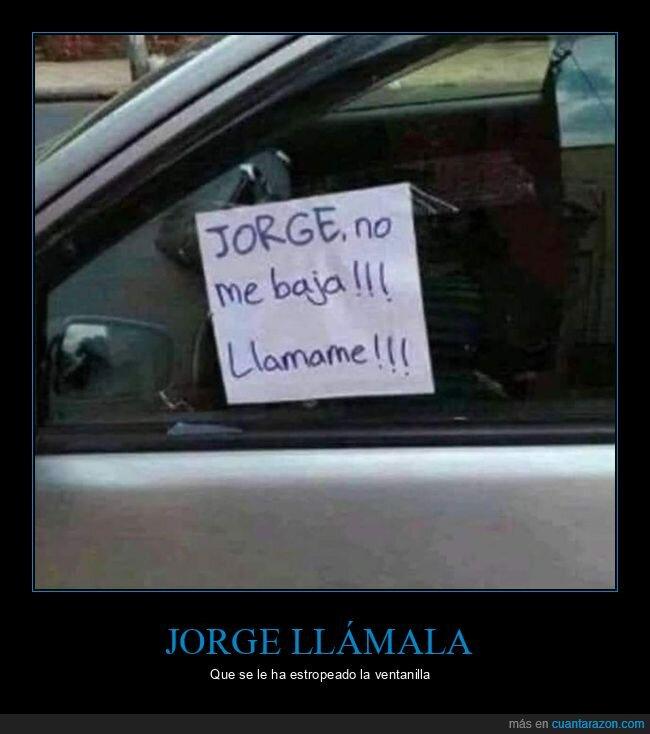 bajar,coche,llamar,nota,regla,ventanilla