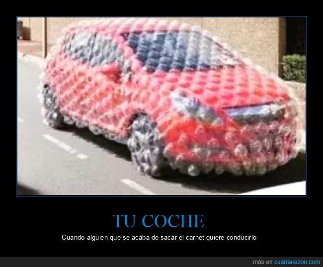 coche,plástico de burbujas