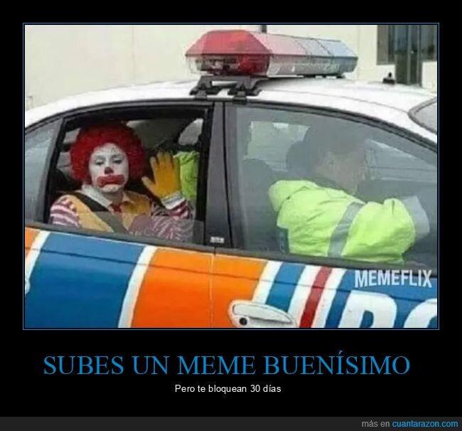 bloqueado,payaso,policía