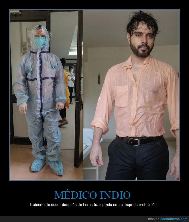 indio,médico,sudor,traje de protección