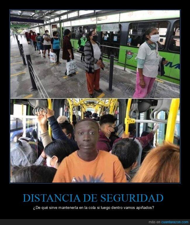 coronavirus,distancia de seguridad,fails,transporte público