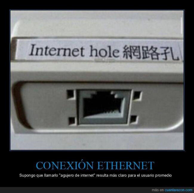 agujero de internet,conexión ethernet,wtf