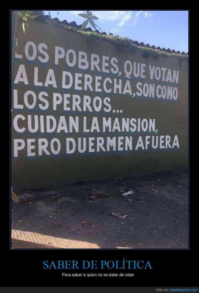 cuidar,derecha,dormir,fuera,perros,pobres,votar