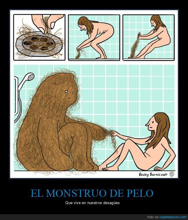 ducha,monstruo,pelos