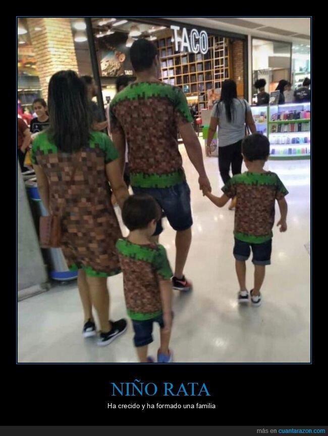 familia,minecraft,niño rata