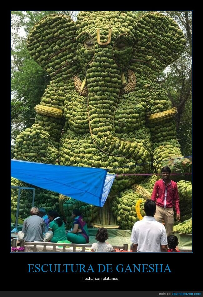 escultura,ganesha,plátanos