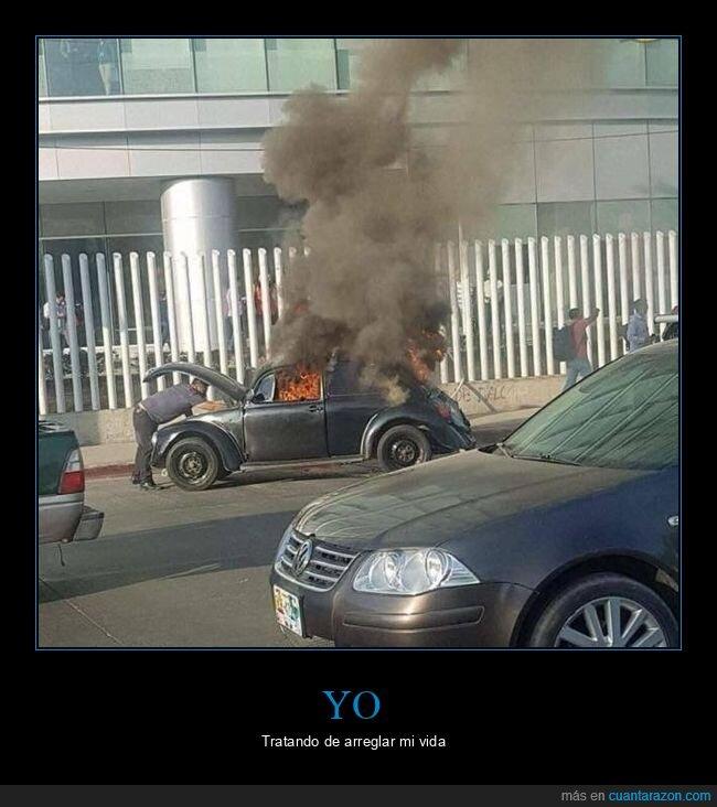 ardiendo,arreglando,coche,wtf