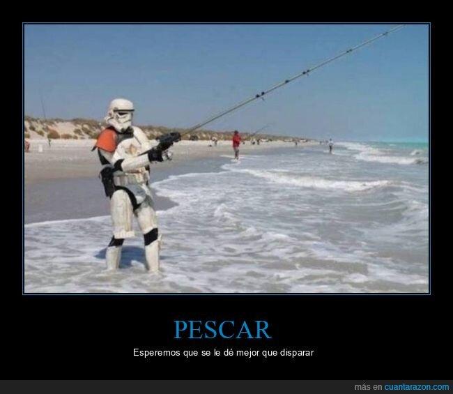 pescando,playa,star wars,stormtrooper