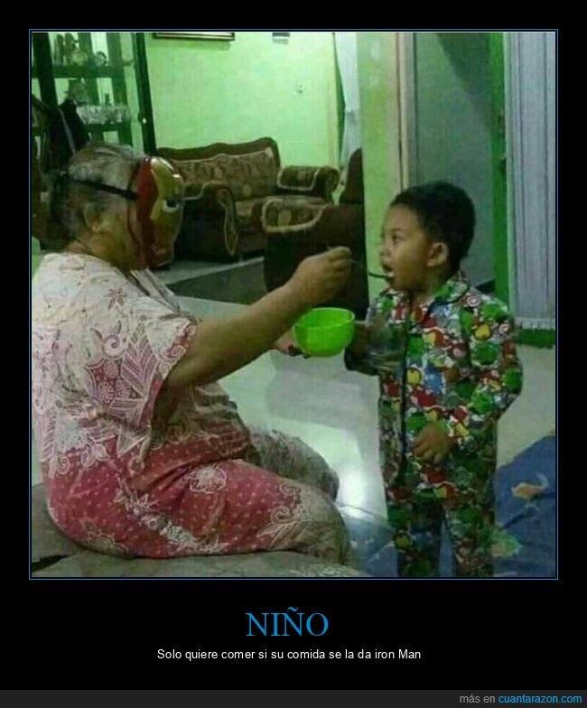 abuela,careta,comiendo,iron man,niño