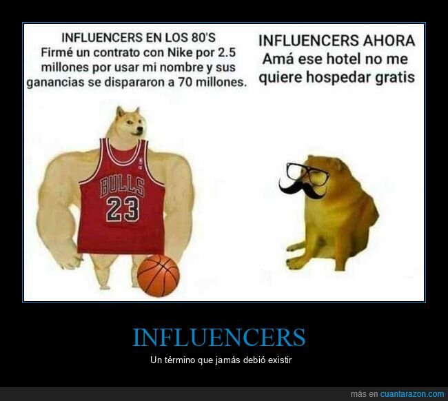 ahora,antes,doge y cheems,influencers