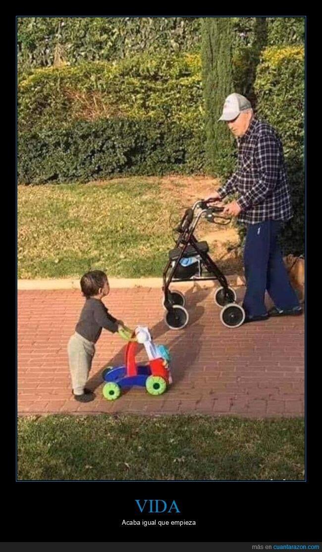 abuelo,acabar,andador,empezar,niño,vida