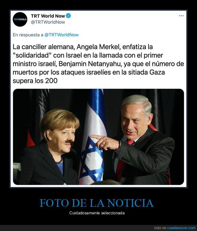 bigote,merkel,netanyahu,políticos,sombra,wtf