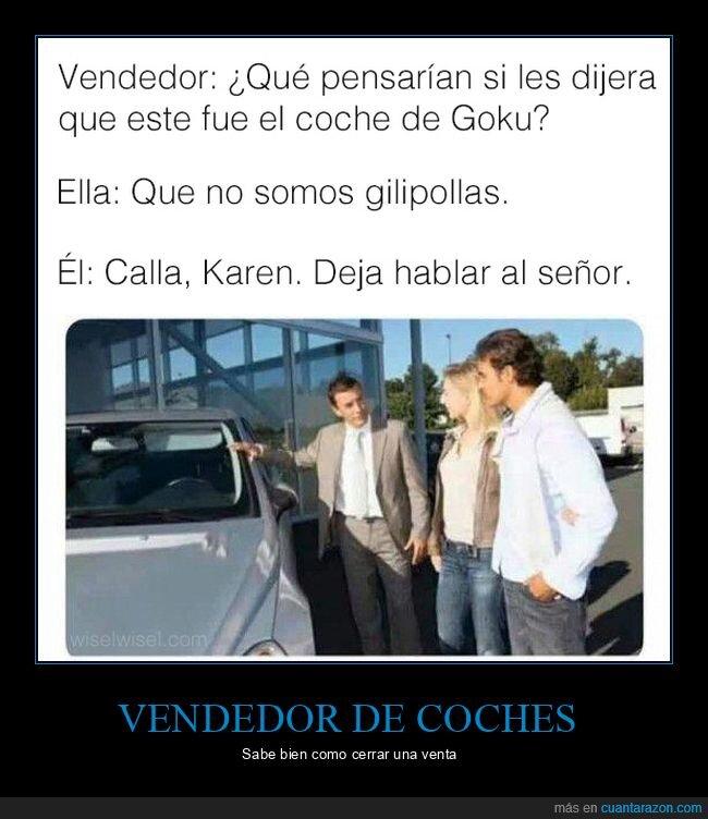 coches,goku,vendedor