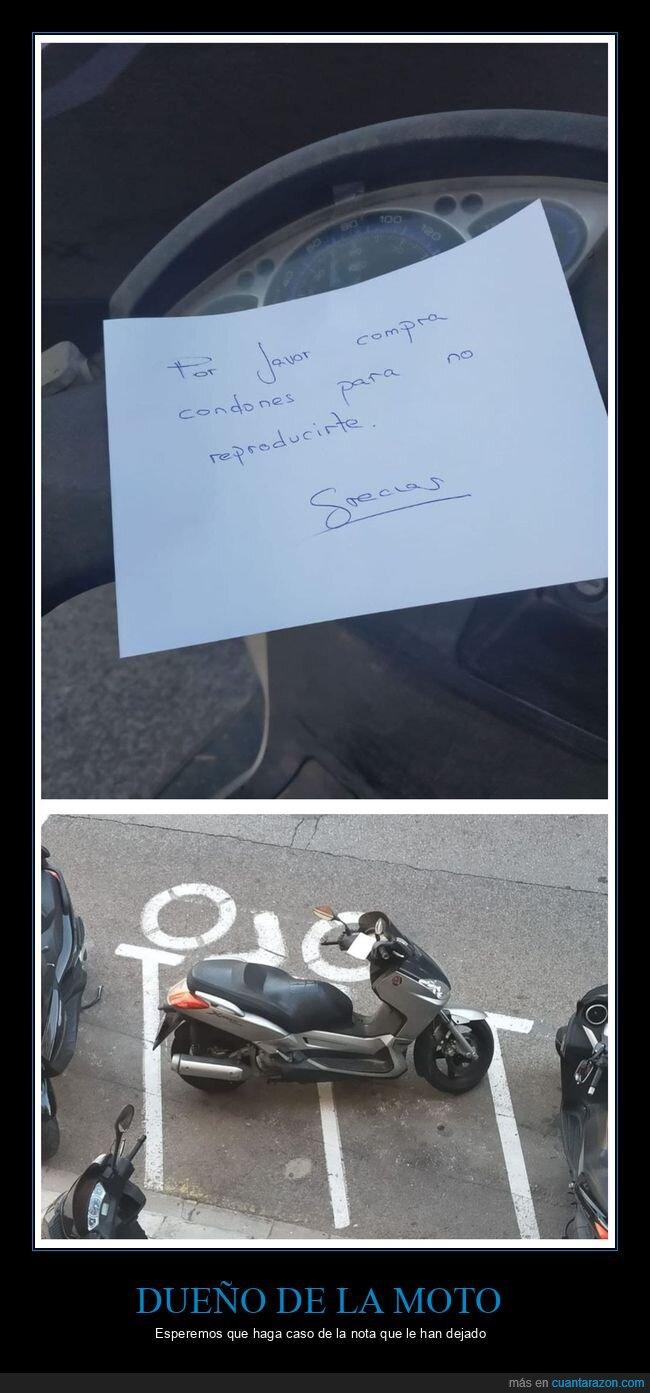 aparcamiento,moto,nota,reproducirse