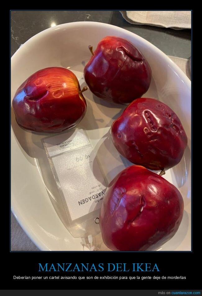 exhibición,ikea,manzanas,mordiscos