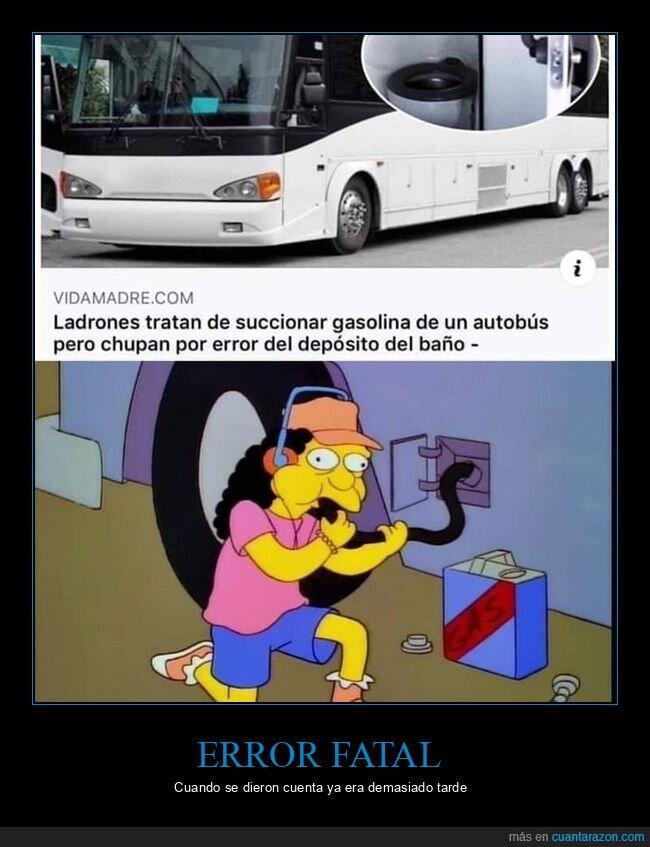autobús,baño,depósito,fails,gasolina,ladrones