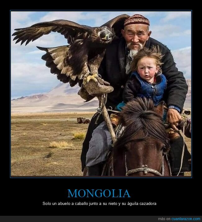 abuelo,águila,caballo,mongolia,nieto