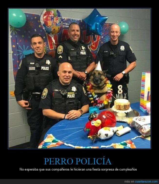 cumpleaños,fiesta,perro,policía