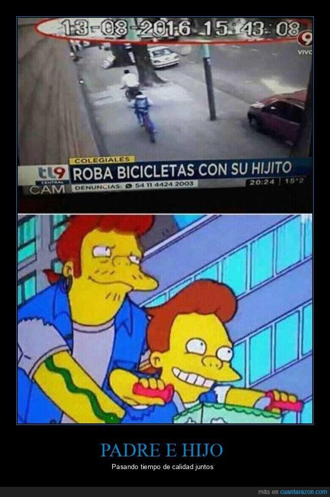 bicicletas,hijo,robar,simpsons