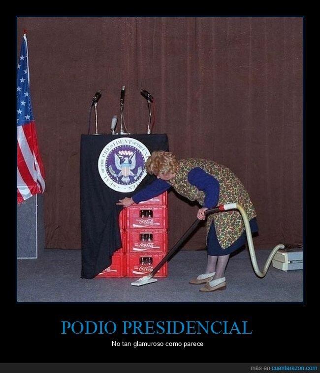 cajas,cocacola,podio presidencial