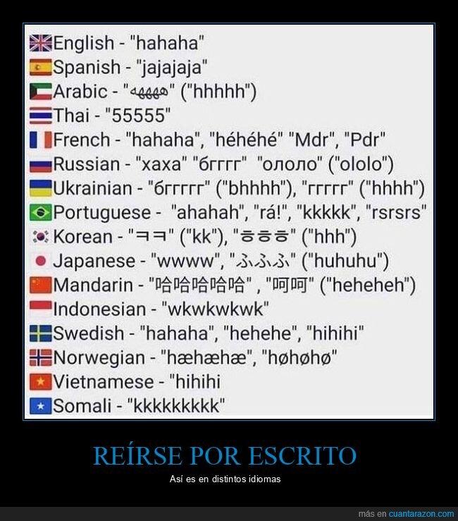 idiomas,reírse