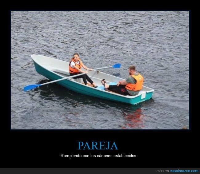 barca,pareja,remando