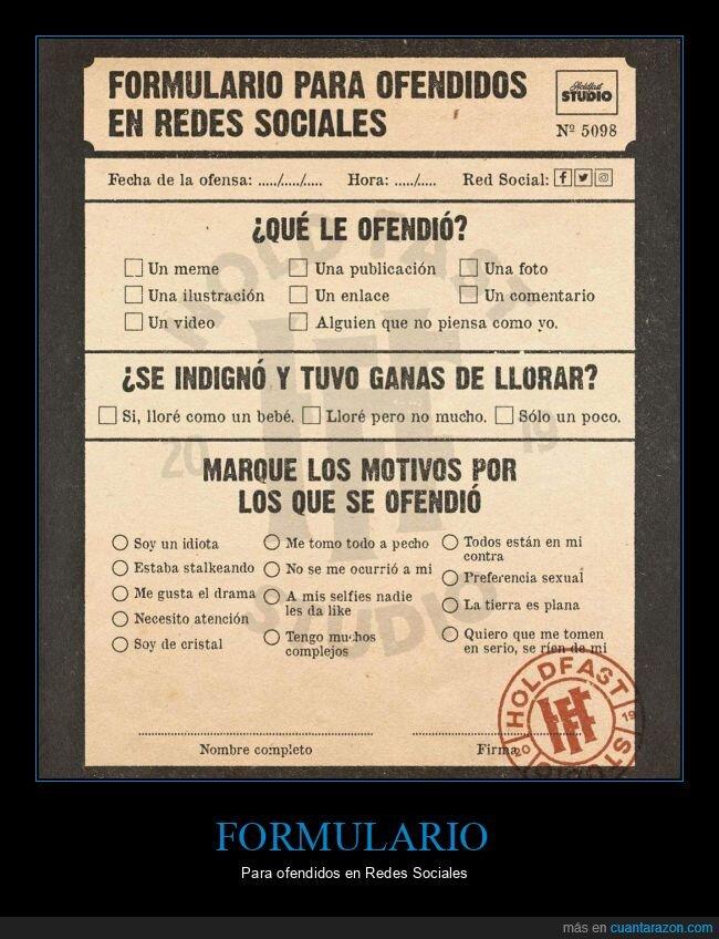 formulario,ofendidos,redes sociales