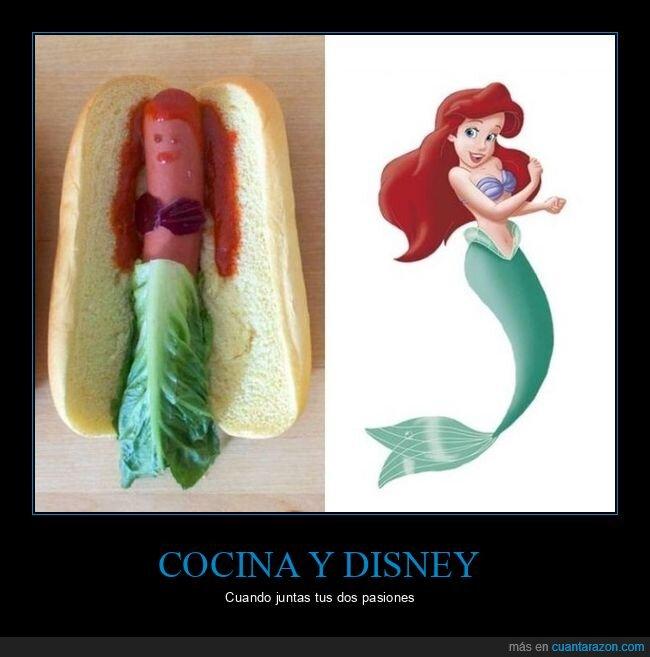 ariel,hot dog,la sirenita