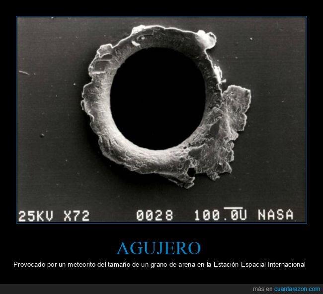 agujero,estación espacial internacional,meteorito