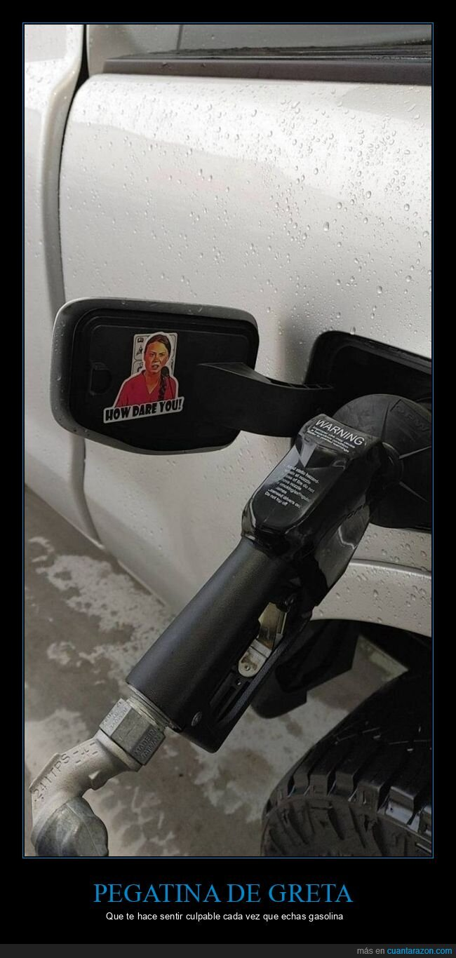 coche,gasolina,greta thunberg,pegatina