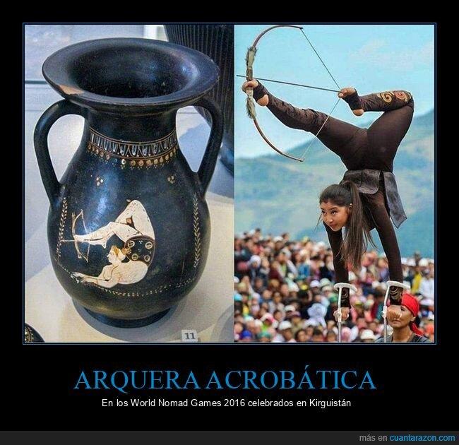 arquera acrobática,world nomad games