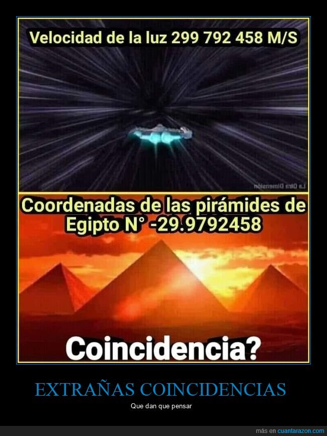 coordenadas,pirámides,velocidad de la luz