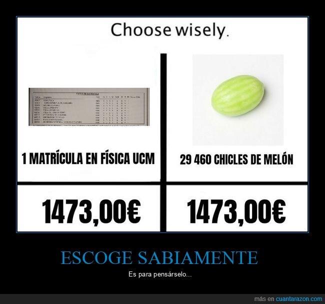 chicles de melón,escoger,precio,universidad