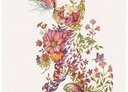 Enlace a Hiroki Takeda, el artista japonés que es conocido por sus coloridas acuarelas de animales con arreglos florales