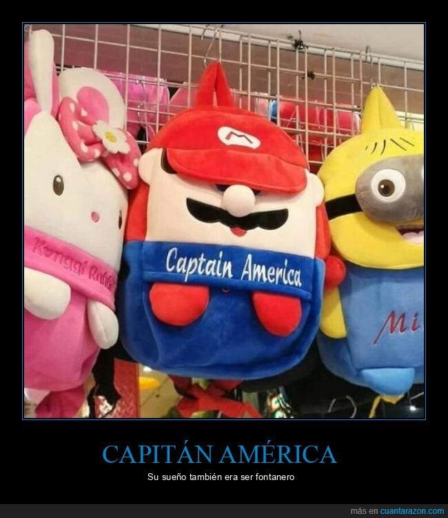 capitán america,fail,mario,mix,mochila
