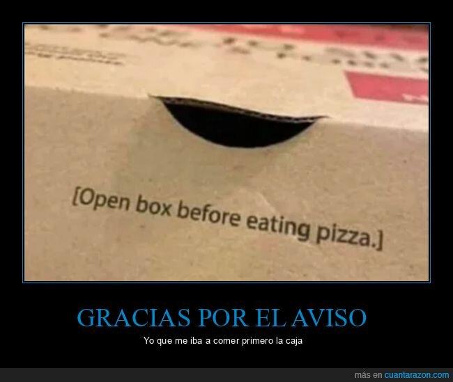 aviso,caja,pizza