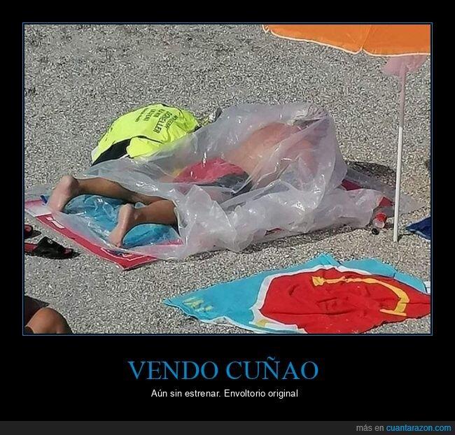 cuñao,pástico,playa