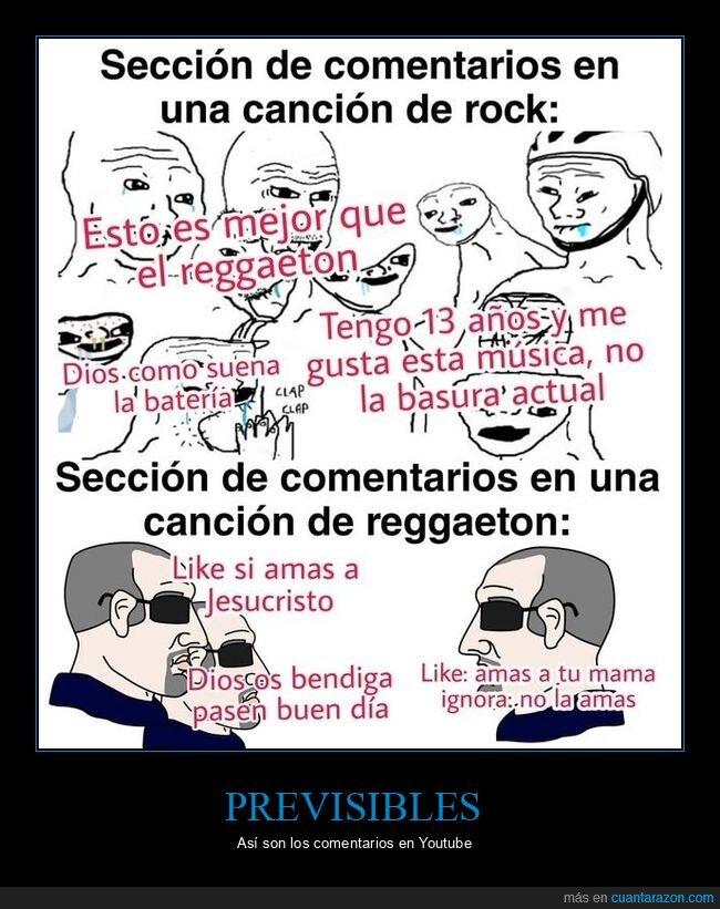 comentarios,reggaeton,rock,videos,youtube