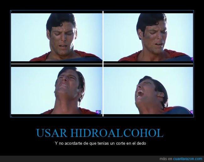 dedo,dolor,herida,hidroalcohol,superman