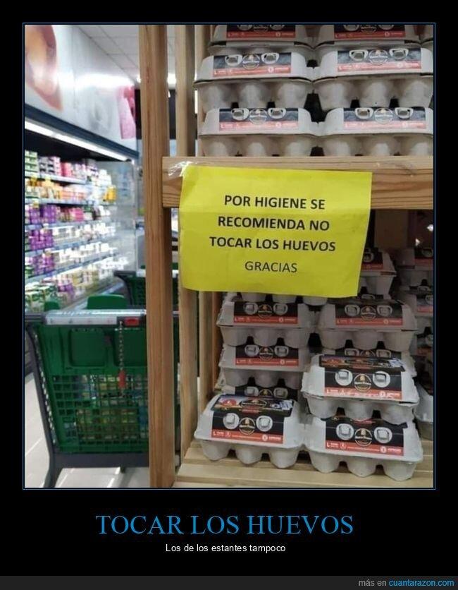 carteles,huevos,supermercado,tocar