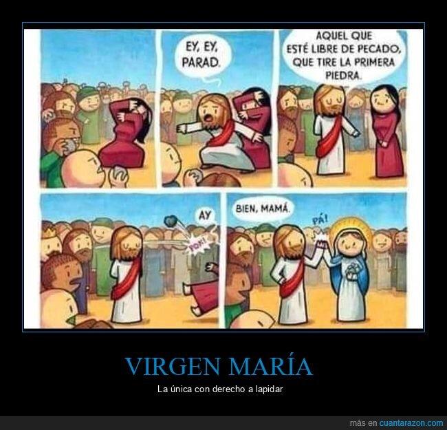 jesús,piedra,tirar,virgen maría