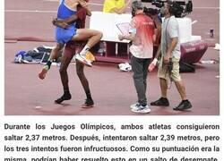 Enlace a Estos dos atletas olímpicos que decidieron compartir la medalla de oro