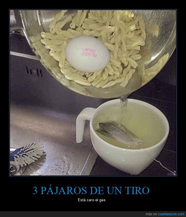 cocinando,huevo,pasta,té