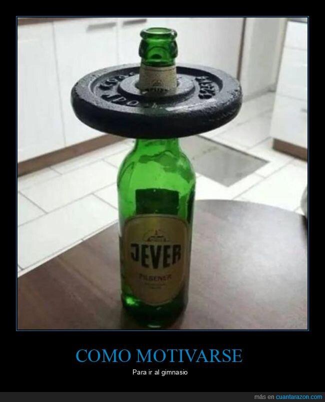 cerveza,ejercicio,pesa