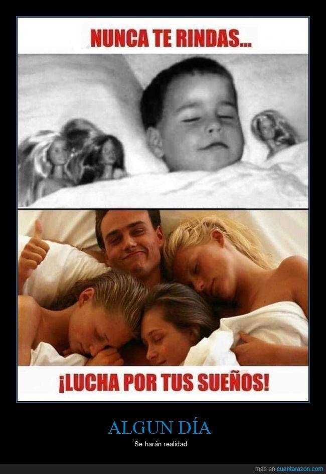 cama,muñecas,niño,sueños