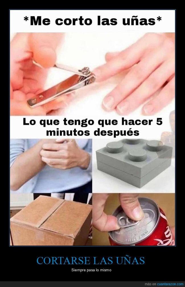 cortarse las uñas,después,hacer