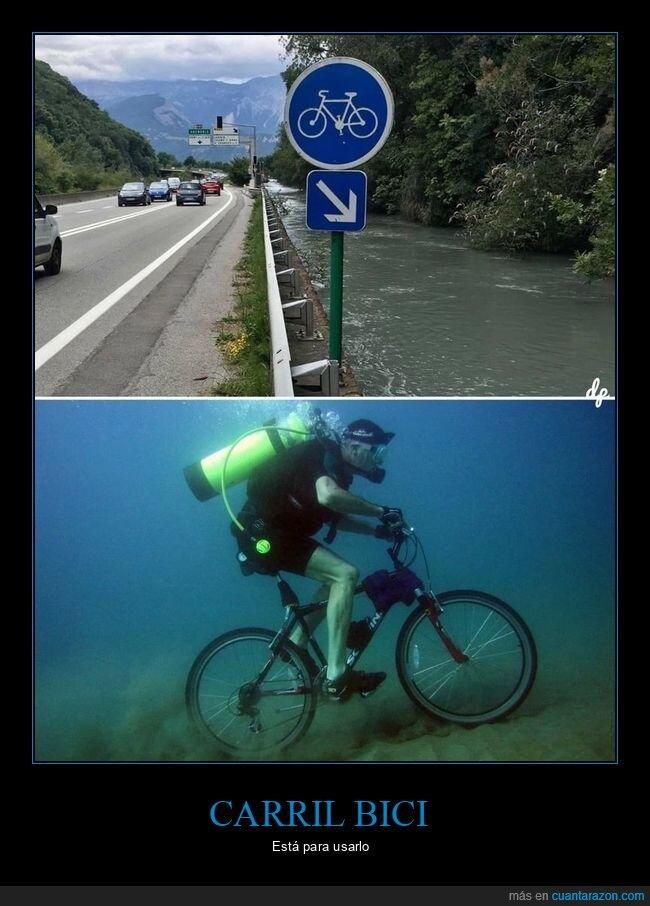 agua,bicicleta,carril bici